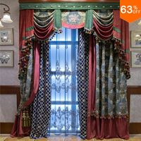 pearl blue with green patchwork red curtains for hotel Classic elegant Bed Room Curtains Cambridge blue design for Living Room