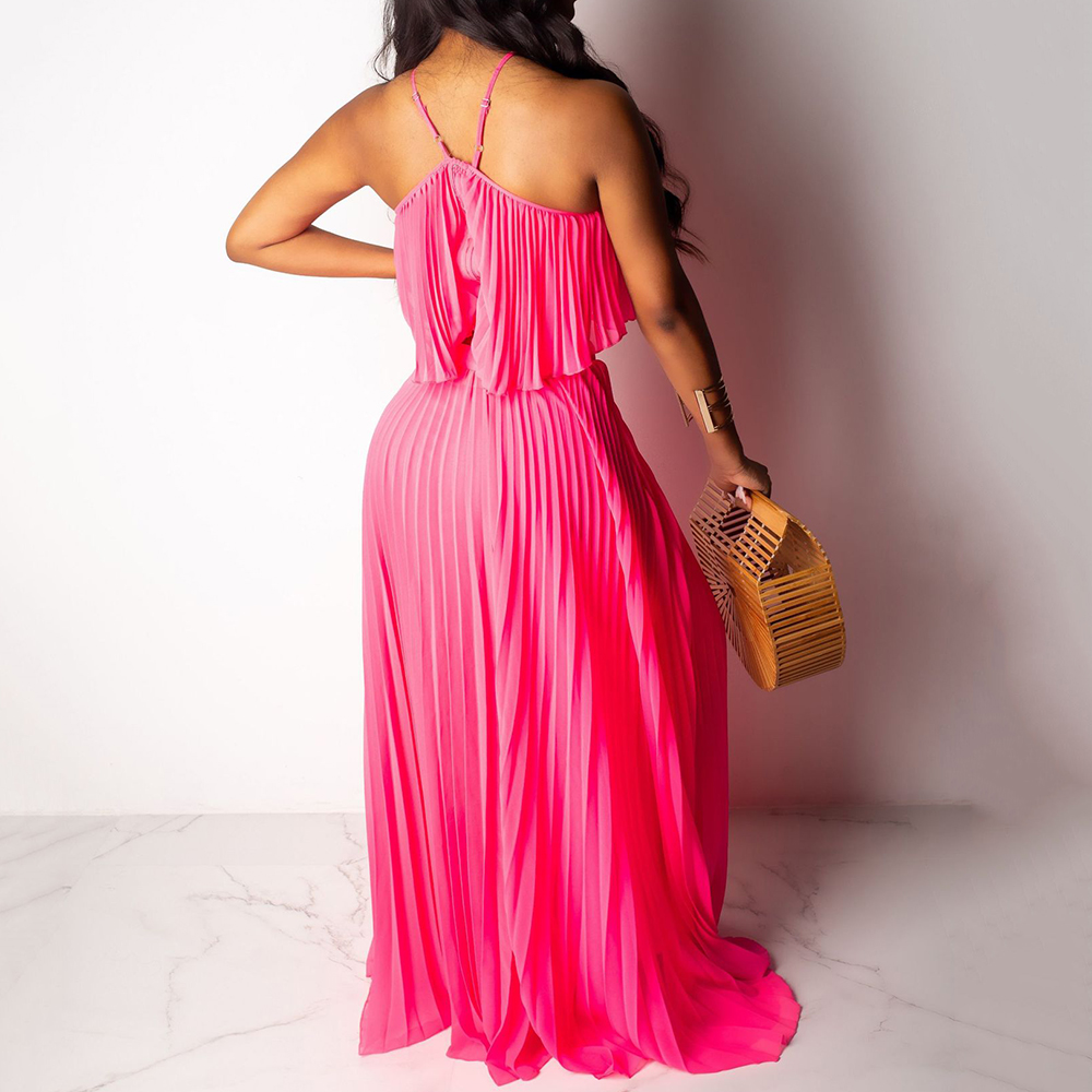 High Quality 2 Pieces Sets Long Chiffon Dress Sexy Hollow Out Off Shoulder Halter Maxi Dress Summer Boho Beach Casual Vestidos in Dresses from Women 39 s Clothing