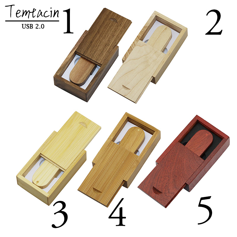 Real Capacity Wooden USB + Box Pen Drive 4 GB 8G 16G USB Flash Drive Bulk USB 2.0 Memory Stick Bröllopsgåva USB Drive U Disk