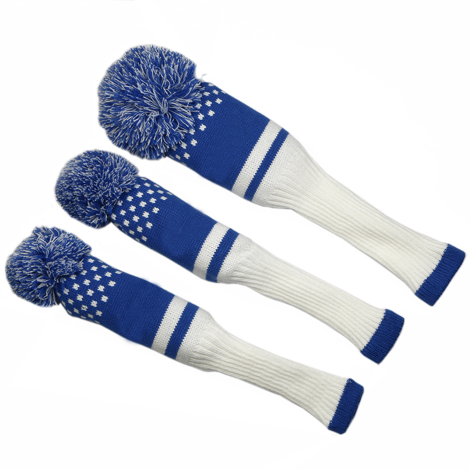 Image 2 - New Style 3pcs/set 3 color Stripe Kniting Golf Driver Wooden Head Covers Knit Wool 1 3 5 Fairway Protect Headcover-in Club Heads from Sports & Entertainment