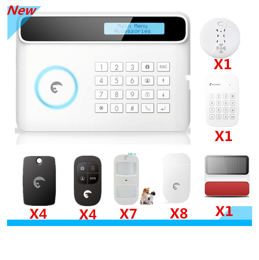 Wireless Etiger S4 GSM Alarm system Smart Home Security alarm system with Solar-power Strobe Flash Siren