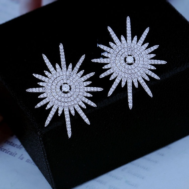 Лет микро проложить Кубический циркон взрыв звезды Атомной круглые серьги серебряный тон Три Гребли Нерегулярные Точки Вдохновило Звезду Пост Серьги