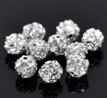100Pcs Silver Plated Ornate Filigree Rhinestone Balls Spacers Beads Jewelry Making Charms Findings Wholesales 6-7mm