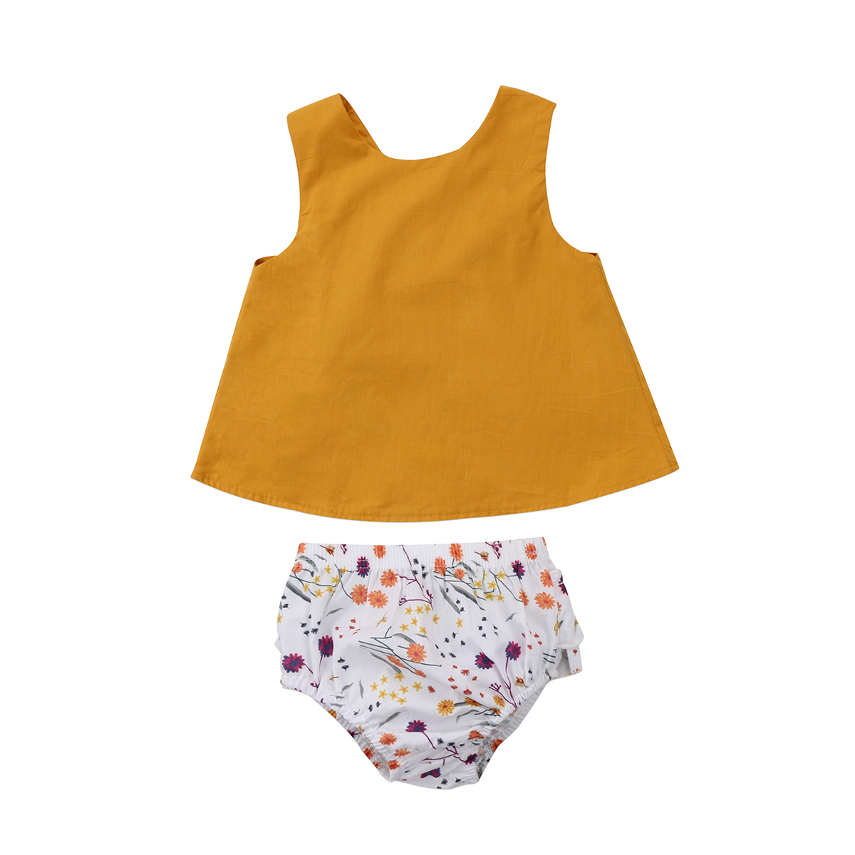 2PCS HOT Sale Newborn Kid Baby Girls Summer Sleeveless O-Neck Yellow Solid Tops+Floral Pants Clothes Set 0-18M