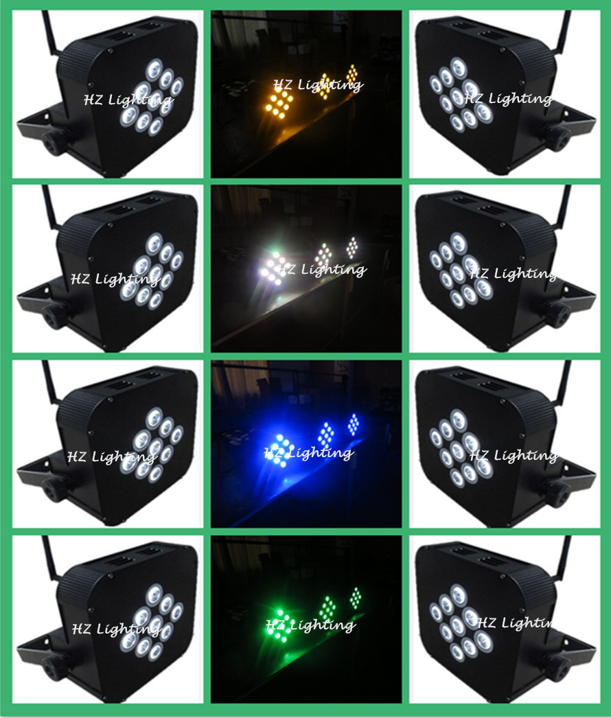 8pcs/lot Low Prices Factory Direct Sales 9*10W RGBA 4 in1 LED Slim Par Light With Wireless DMX Control, LED Flat Par