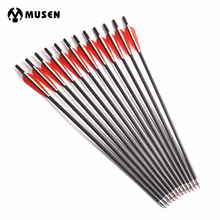 6/12/24Pcs Diameter 8.8mm Crossbow Carbon Arrow 17/20 Inches Length 2 Red 1 White Feather for Archery Hunting Shooting