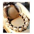 Mujeres de la manera de Dos Hileras de Banda Ajustable Cinta Negro Perlas Del Collar del Rhinestone Gargantillas Collares de Perlas de Imitación de Alta Calidad