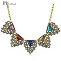 Moda mymumu wydrążony trójkąt geometryczna rhinestone kryształowe wisiorki naszyjniki obroża choker kobiety naszyjniki party biżuteria