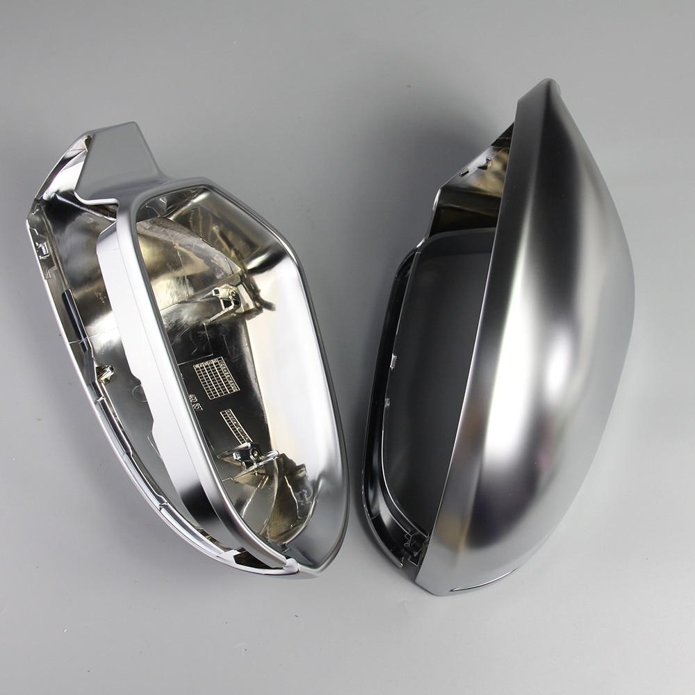 1 paire Voiture Rétroviseur Miroir Shell Couverture Protection Cap Mat Chrome pour Audi A6 C7 S6 2012-2018 Aile couverture De miroir De Voiture Accessoires