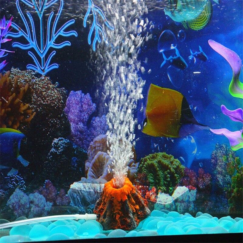 1 set volcano shape aquarium fish tank decor oxygen pump for Aquarium volcano decoration
