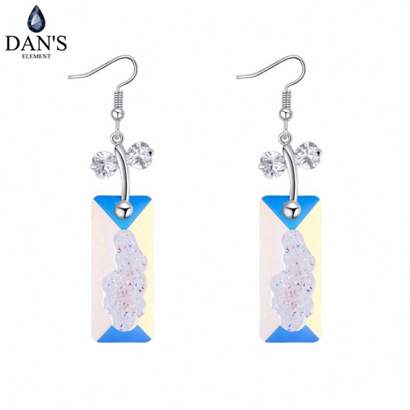 DANS ELEMENT 4 Colors Real Austrian crystals Stud earrings for women Earrings s New Sale Hot Round 129723