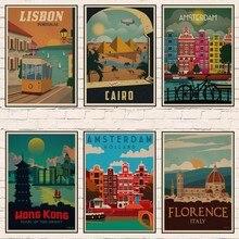 Italia/LISON/venice/Egypt las piramides de El extranjero viajes Retro Vintage cartel para pared decorativa de papel Kraft carteles Bar decoración para el hogar regalo 1004