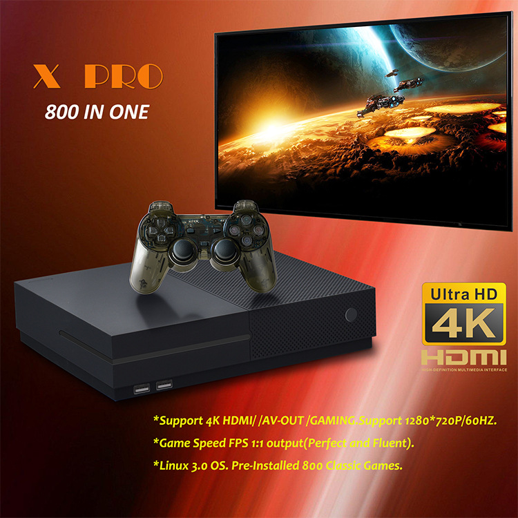 hot sell 64 Bit Support 4K Hdmi Output Video Game Console Retro 800 Classic Family Video Games Retro Game Console To TV X PRO 8