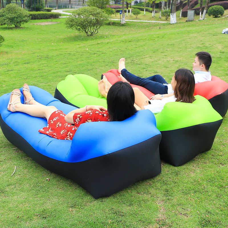 Rápido Dobrável cama De Acampamento Saco Sofá Preguiçoso Sofá De Ar Inflável Laybag Adulto Saco de Dormir de Cama Lounge Chair Camping Colchão de Ar pad