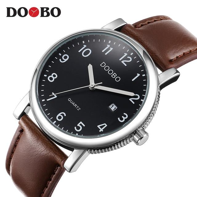7ed0e96acb9 DOOBO Original Men Quartz Watch Reloj Hombre Relógios Homens de Negócios de  Couro Relógio Cronógrafo Militar