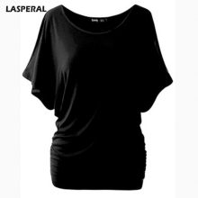 LASPERAL Brand T Shirt Women Batwing Sleeve Shirts Top Solid O-Neck Cotton Blend Summer Tee Tops Female Plus Size Casual Shirts(China)
