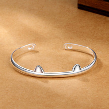 цена на 925 Sterling Silver Lovely Animal Cat Ear Paw Cuff Bangles & Bracelets Accessories for Girls Women Gift Birthday Jewelry