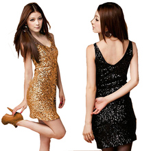 Women fashion Sexy V neck club sequin slim hip strep mini dress Ladies backless pencil dress