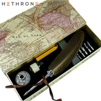 Hethrone Vintage Quill Antique Natural metal Fountain Pen English Writing Dip Water Pens Set Calligraphy feather gift box pen