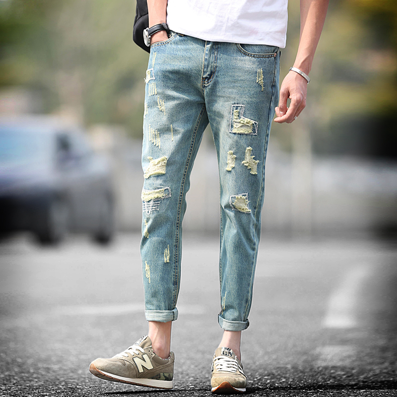 Men jeans  fashion casual denim ripped skinny jeans homme 2016 summer ankle-length pants korean version hole cotton biker jean fashion high waist jeans ankle length denim pants ripped hole jeans casual summer women jeans denim pants jean new tt1138