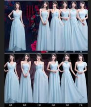 Light Blue Chiffon Long Bridesmaid Dresses 6 Styles Floor Length Maid of Honor Dresses For Junior Girls In Stock Party Dress