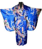 Blue Vintage Japanese Women's Kimono Satin Bath Gown Yukata Dress With Obi Clothing Peafowl One Size WK004