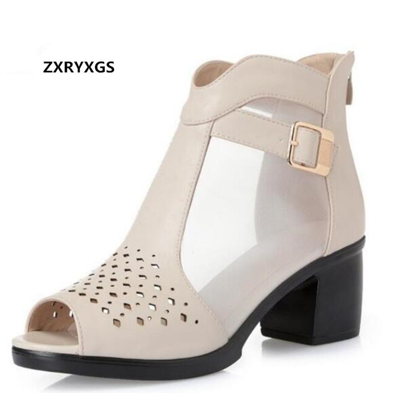 Hot 2018 Spring and Summer New Fish Head Hollow Women Shoes Fashion Sandals Ankle Boots Mesh Genuine Leather Sandals Large Size mvvjke 2018 spring summer new bow genuine leather women boots hollow mesh ankle boots comfortable low heels fashion shoes