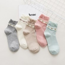 2019 happy women fashion ruffle bow 5 pairs socks looney tunes rottweiler striped lace calcetines pink fuzzy