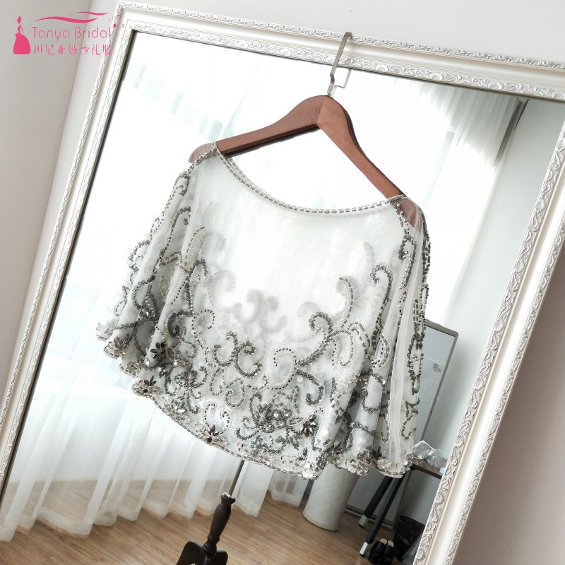 Gorgeous Wedding Jacket Amazing Shinny Beaded Dark Silver with Clear Beading handmade Women Cape without sleeve  ZJ010