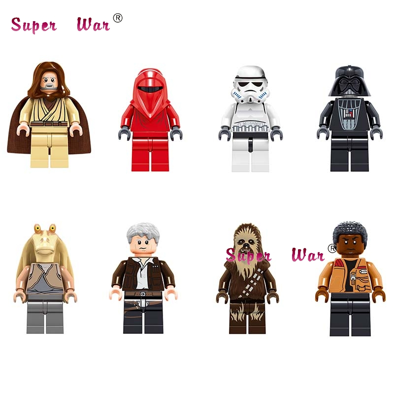 Single Star wars Stormtooper Han Solo Darth Vader Renobi Chewbacca Jar Jar Binks obi wan Figure building block toys for children