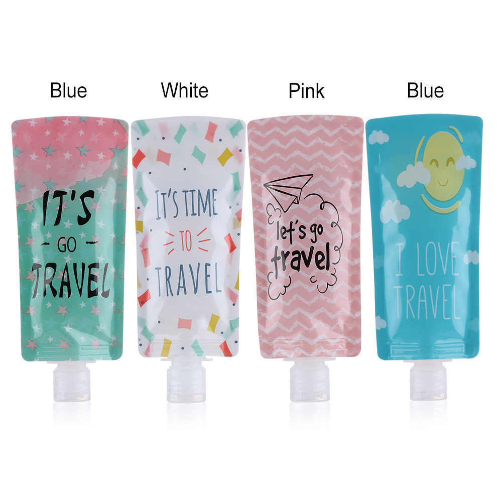 100 ML Portable Liquid Dispensing Bag Shampoo Storage Bag Candy Color Lotion Packing Bottle Squeeze Makeup Container Travel