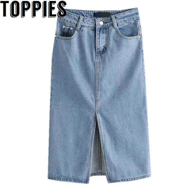 Toppies נשים 2018 נשים גבוהה מותן ינס חצאית פיצול Midi ג 'ינס חצאיות אור כחול ג' ינס חצאיות