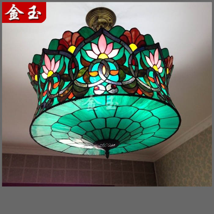 European American Style Mediterranean Tiffany Large Pendant Light Hanging Lamp Living Room Villa Dining Lighting In Lights From