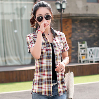 female plaid shirts Summer Style cotton short-sleeved checker shirt blouses clothes for women plus size M-XXXL pajamas