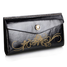 Famous Brand Design Women Hasp Wallet Genuine Leather Cowhide women Clutch bag Fashion Female Flower Embossed Card Holder Wallet(China)
