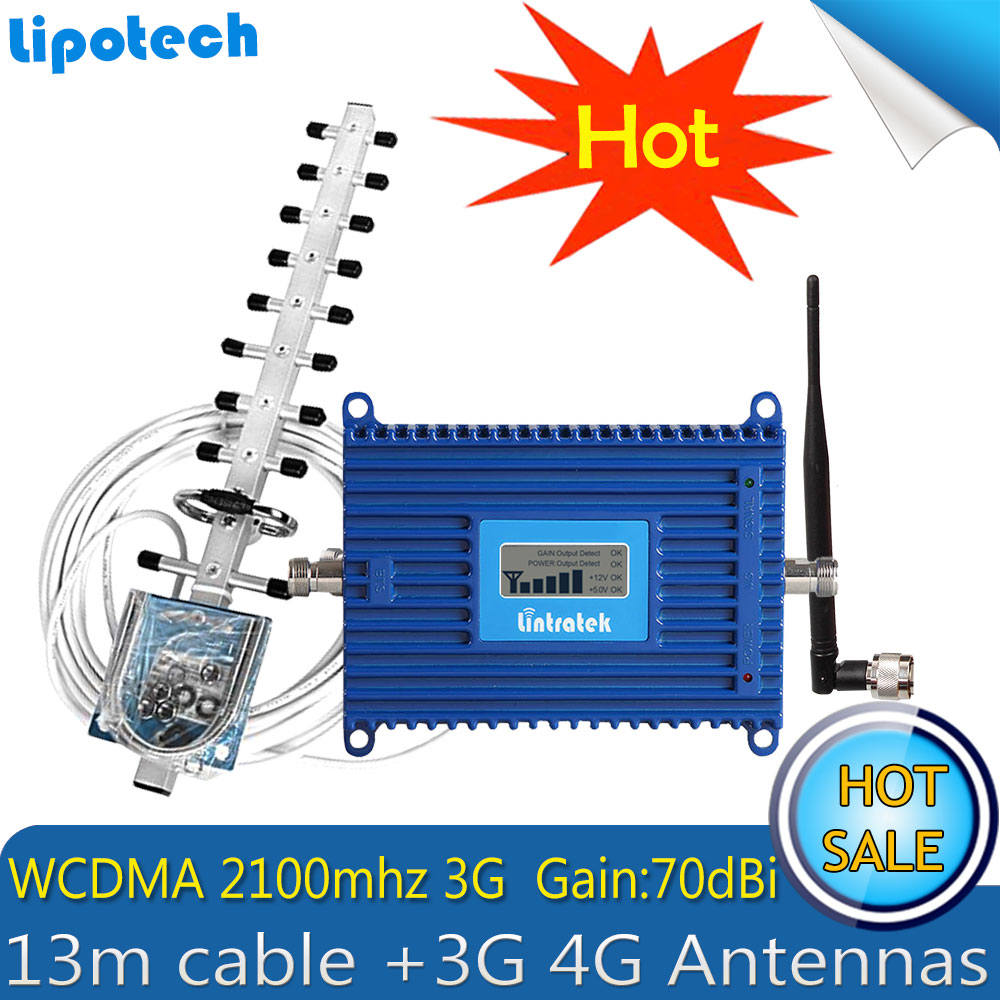 Lintratek 3G Repeater WCDMA 2100MHz Signal Booster 2100 LTE (Band 1) Mobile Phone Signal Amplifier 3G 4G Antennas