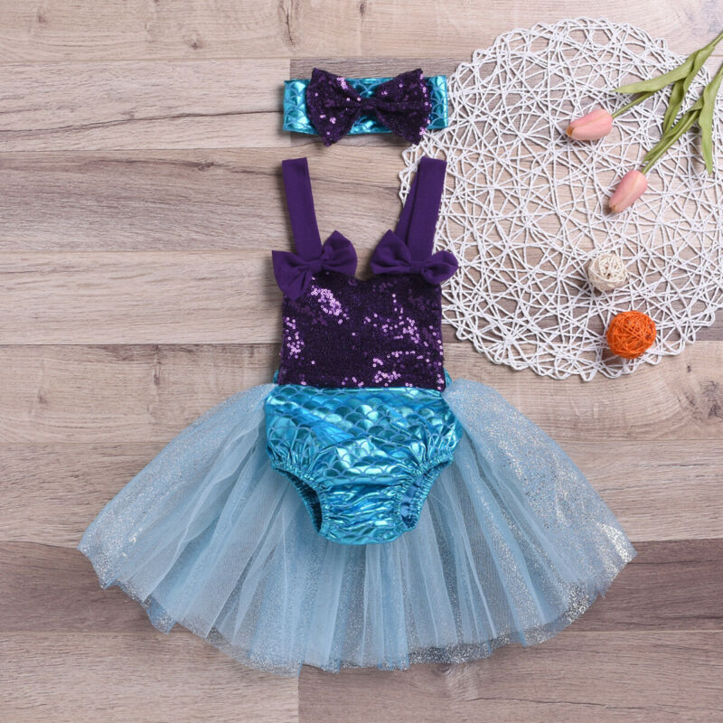 2019 New Summer Baby Girl Mermaid Bowknot Bikini Set Swimsuit Swimwear Bather Suit Swimming Suit Casual Toddler Beachwear(China)