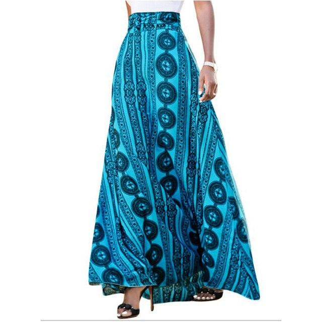 2011219a7e86 FGirl Women's Summer Skirt Multicolor Striped Graffiti Flowy Long Sashes High  Waist Maxi Skirt Saias Das