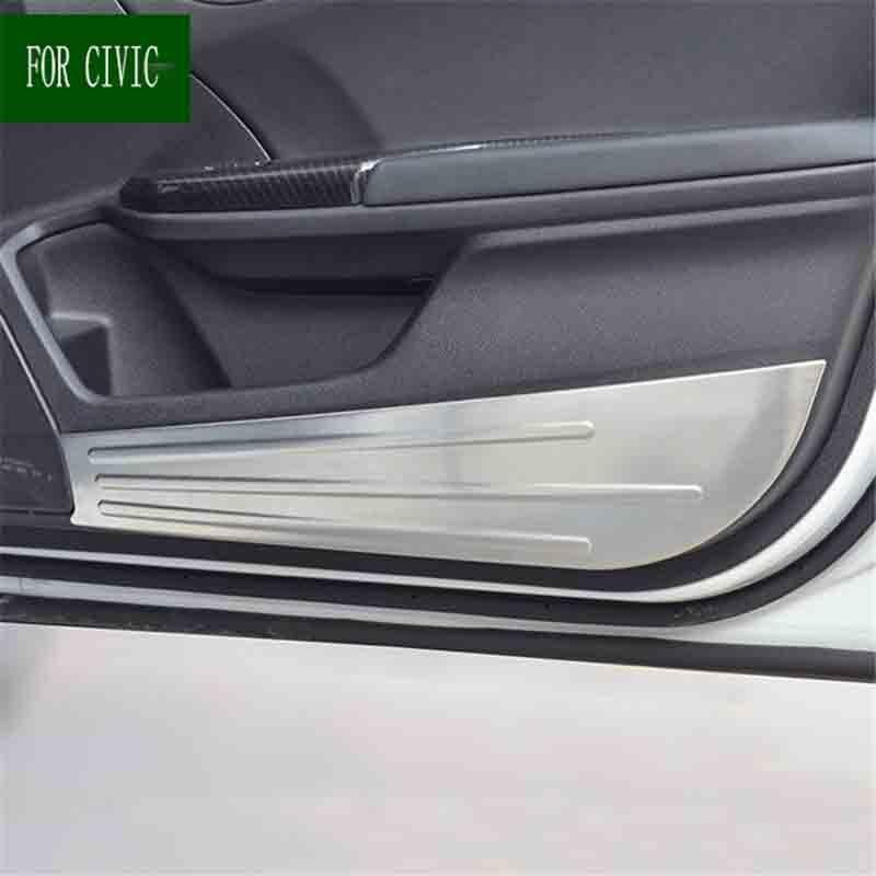 4 pièces acier inoxydable protecteur porte intérieure Anti-coup Anti-sale garniture de protection pour Honda Civic 2016 2017 10th