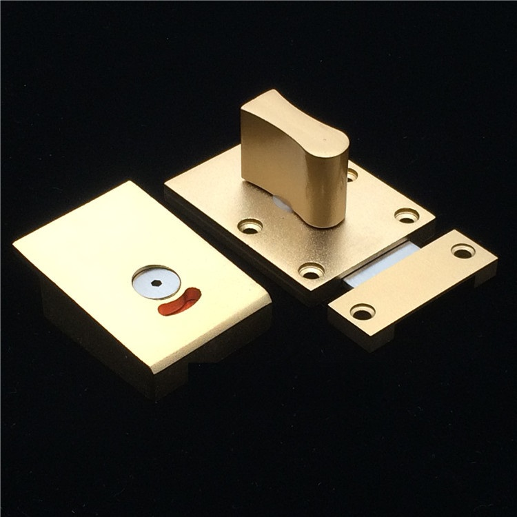 Aluminum Gold Nickel Brush Door Lock Latch With Red Green Indicator Public Restroom Toilet Partition Thumb turn цена 2017