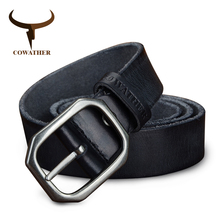 COWATHER top cow genuine leather belts for men vintage casual 100 130cm style male strap width 3.2cm craftsmanship FREESHIPPING