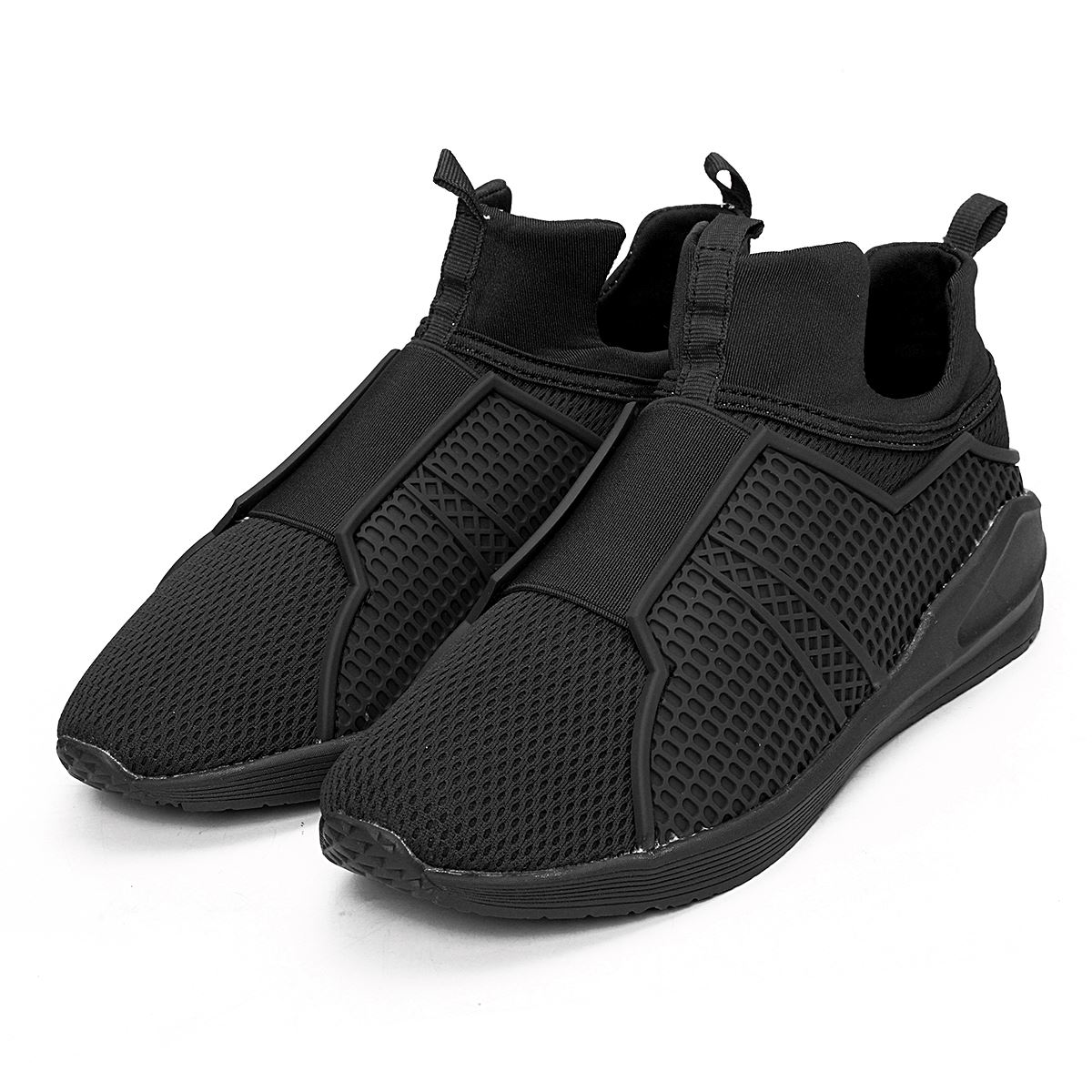 ФОТО Spring Autumn New Men's Breathable Casual Flats Shoes  Mesh Slip On Elastic Strap Men Shoes Hip Top Male Walking Footwear