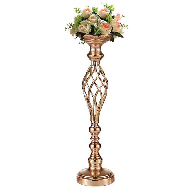 PEANDIM Hollow Gold Metal Candle Holders Home Table Centerpiece Stand Decor Wedding Candelabra Road Lead Flowers Vase 10PCS/LOT