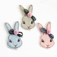 Free Shipping 10PCs 53 98MM Handmade Wool Felt Animal Rabbit Head Button Patch Sticker With Round