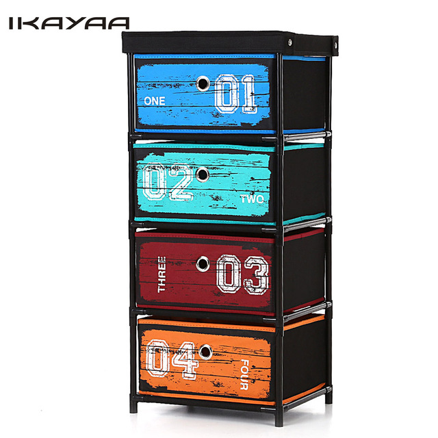 Ikayaa Organizer Antique Style Fabric 4-Drawer Home Office Storage Cabinet Organizer for Clothes Toys Sockets Storage Boxes&Bins