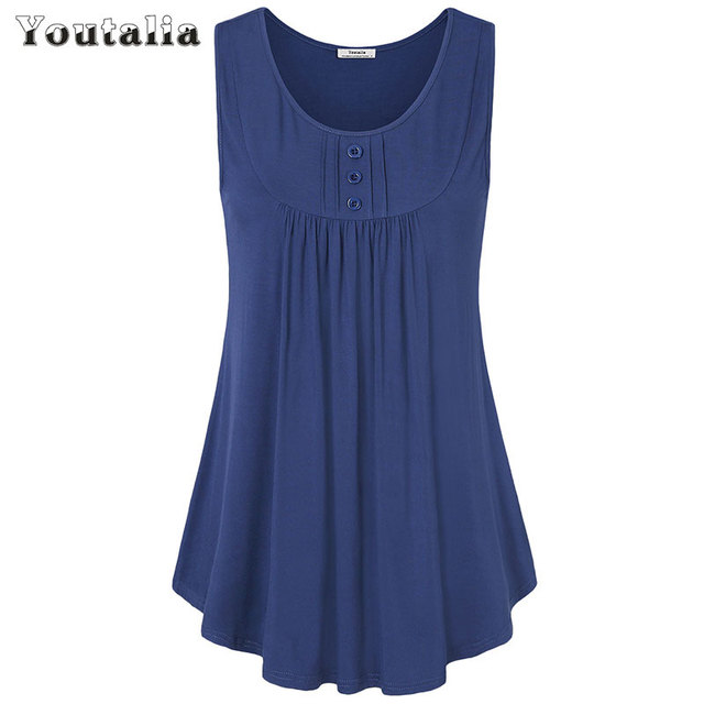 c5b5f777 Youtalia Womens Summer Sleeveless Scoop Neck Shirts Pleats Flowy Tunic Tank  Casual Tank Tops Ladies Button Vest Blusas Feminino
