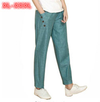 2018 Spring Summer New Casual Cotton Linen Pants Women Elastic High Waist Trousers Large Size Thin Loose Pants Female