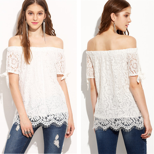 df5bea625ac055 T Shirt Women Blusa Off Shoulder Top White Lace Plus Size cropped Sexy  Elegant Ropa Mujer kawaii american apparel