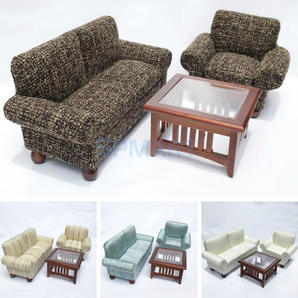 1//12 Dollhouse Miniature Room Furniture Double Couch Sofa Model Set Black