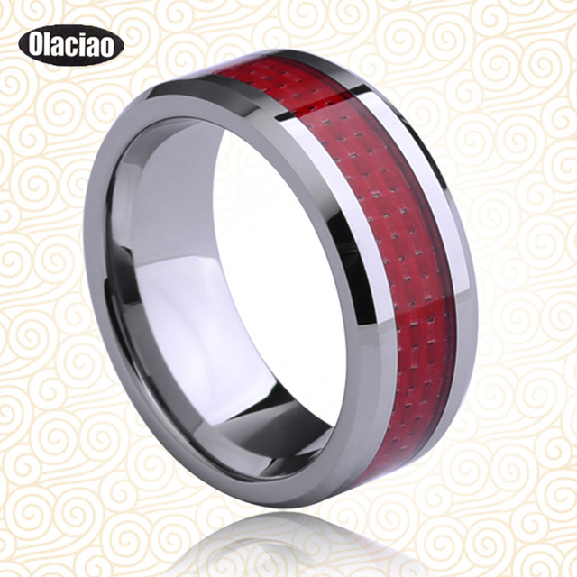 Fashion New Engrave 8mm Tungsten Carbide Red Carbon Fiber Uni Wedding Band Ring Mens Las Gift